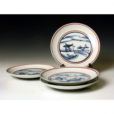 HJ40.  A stunning set of 4 plates by Tomimoto Kenkichi.