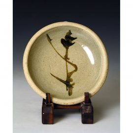 HJ65d    Small press moulded dish by Hamada Shoji.