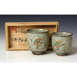 HJ84  A Pair of His and Hers yunomi by Tatsuzo Shimaoka.